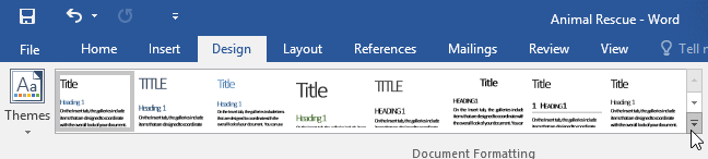 clicking the More button in the Document Formatting group