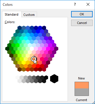 The Colors dialog box