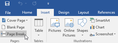 selecting the Page Break command on the Insert tab