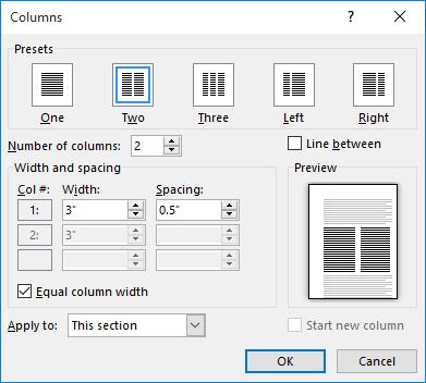 The Columns dialog box