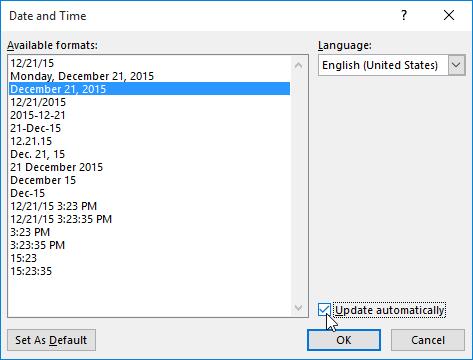Memilih opsi tanggal