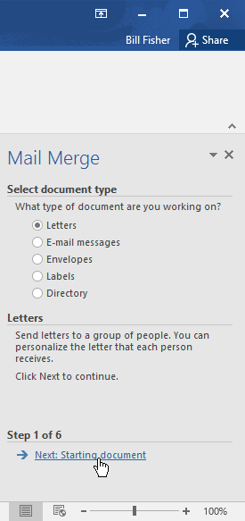 completing step 1 of the mail merge