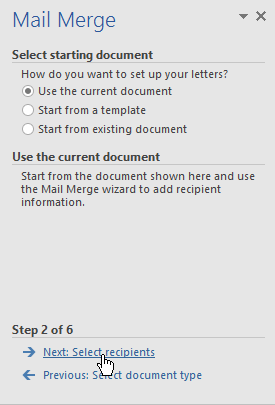 completing step 2 of the mail merge