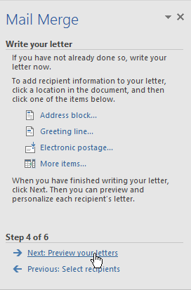 completing step 4 of the mail merge