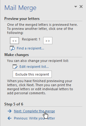 completing step 5 of the mail merge