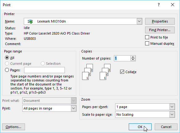 customizing options in the Print dialog box