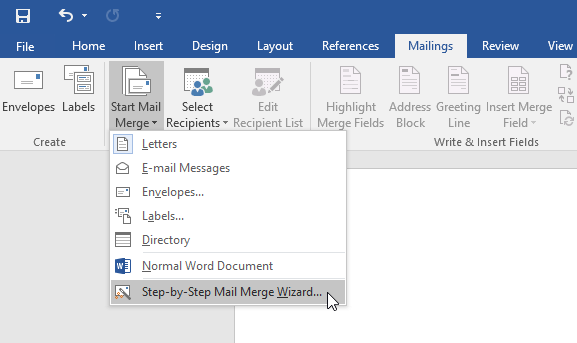opening the Mail Merge Wizard