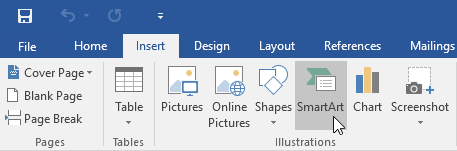 selecting the SmartArt command on the Insert tab