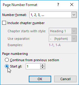 how to restart numbering in word document
