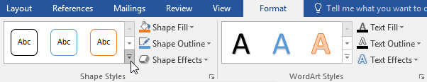 Clicking the More drop-down arrow