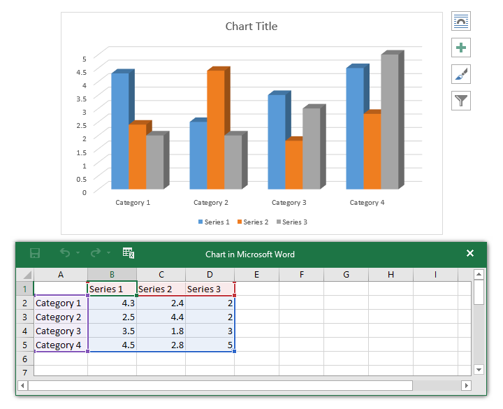 chart and spreadsheet window
