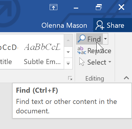 shortcut key to find and replace in ms word is