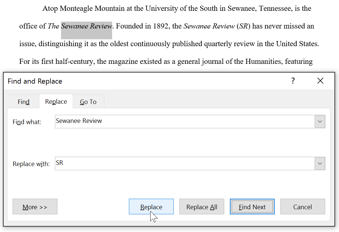 replacing Sewanee Review with SR