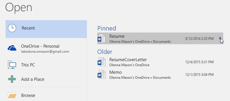 unpinning a document