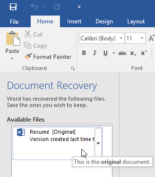 recovering a document with the AutoRecover feature