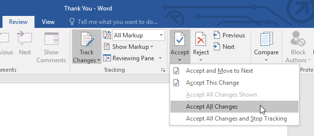 accepting all changes in a document