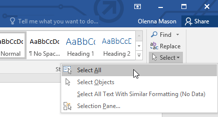 selecting all text in the document
