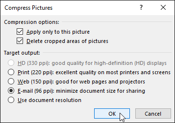 compress pictures dialog box