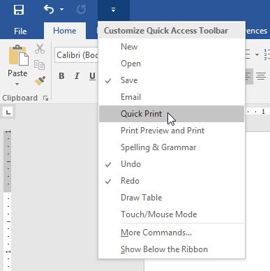 adding the Quick Print command to the Quick Access Toolbar