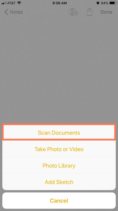 scan documents option