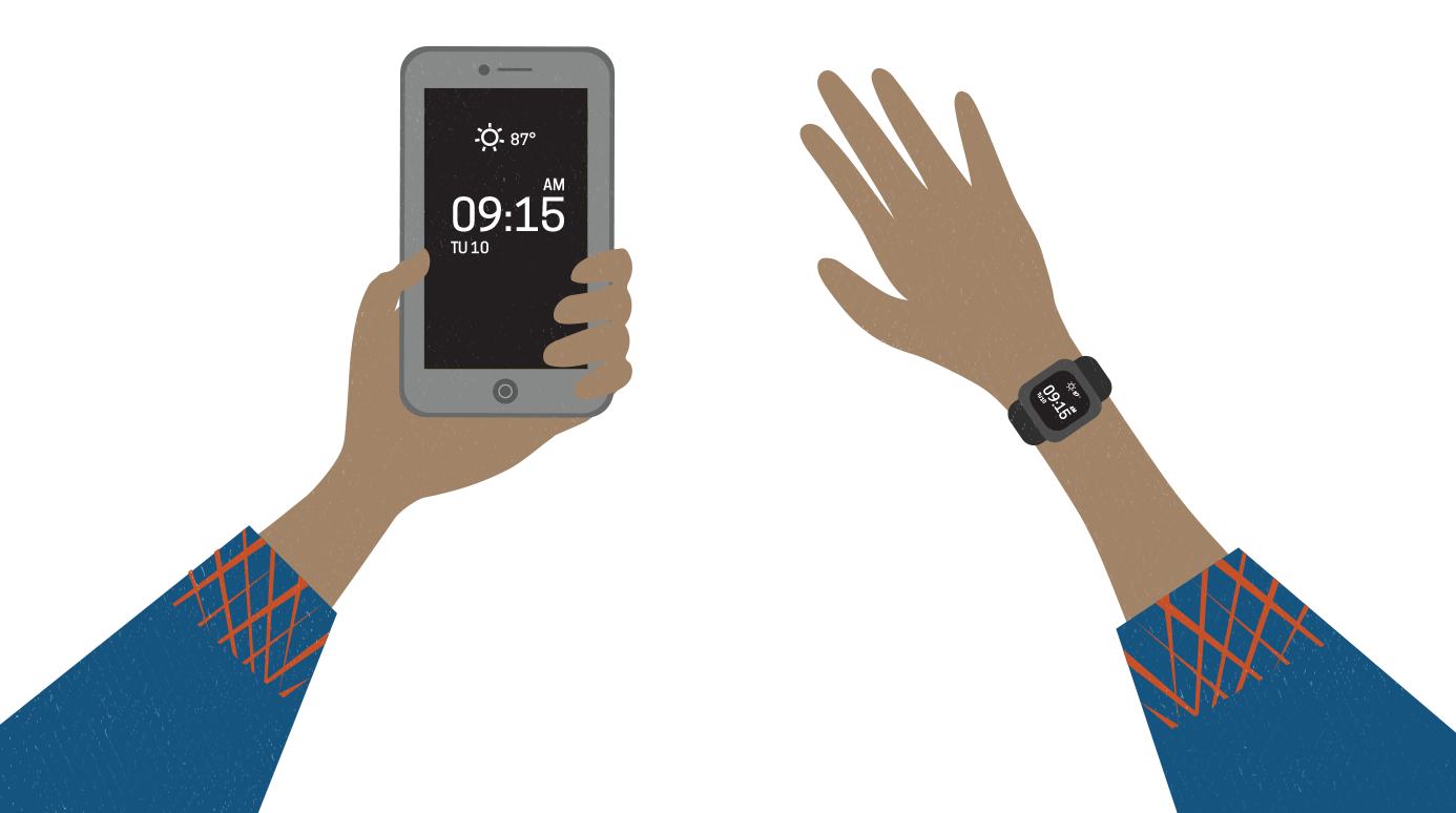 illustration of a smartwatch next to a smartphone