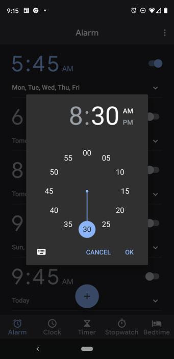 Setting an alarm