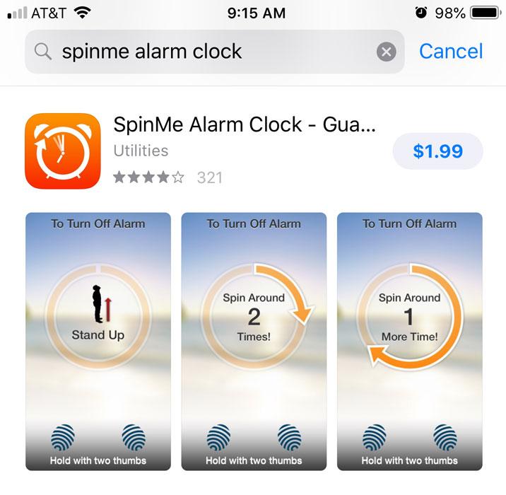 Alarm clock app in the App Store