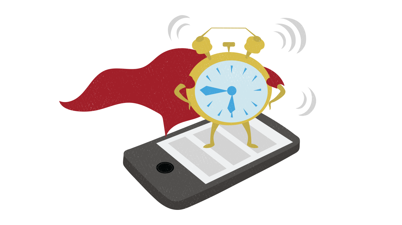 Cartoon image of an alarm clock wearing a cape and standing on a smartphone