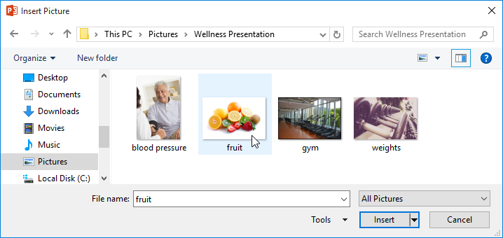 Choosing a picture to insert