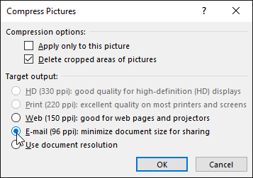 The Compress Pictures dialog box