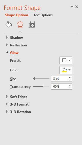 The Shape Options pane
