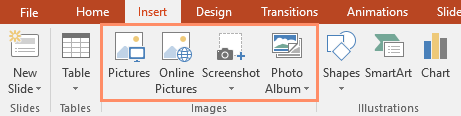 The Images group on the Insert tab
