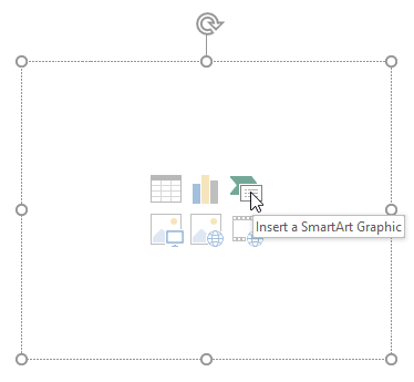 Inserting a SmartArt Graphic from a placeholder