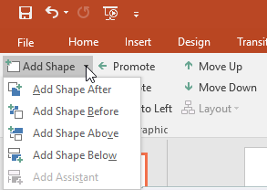 Clicking the add shape command drop-down menu
