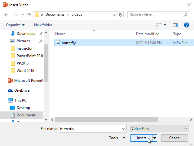 Selecting a video to insert