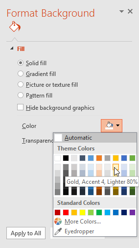 Choosing the background fill options
