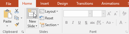 Inserting a new slide with the same layout