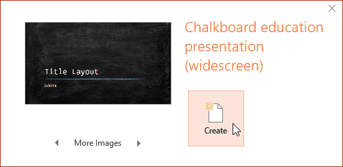 Creating a new presentation with a template