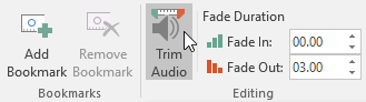 Clicking the Trim Audio command