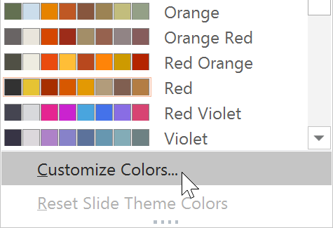 selecting Customize Colors