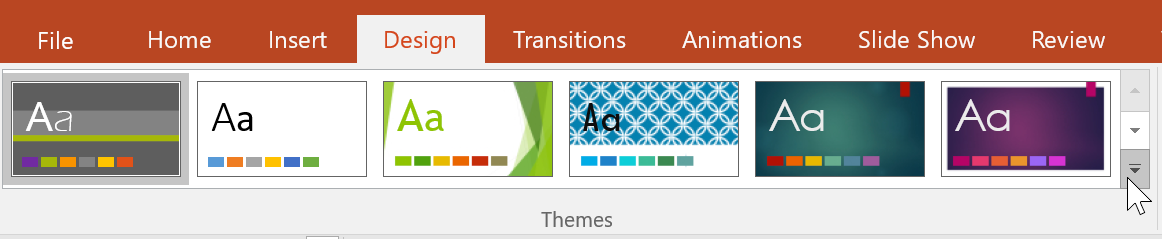 clicking the drop-down arrow in the Themes group