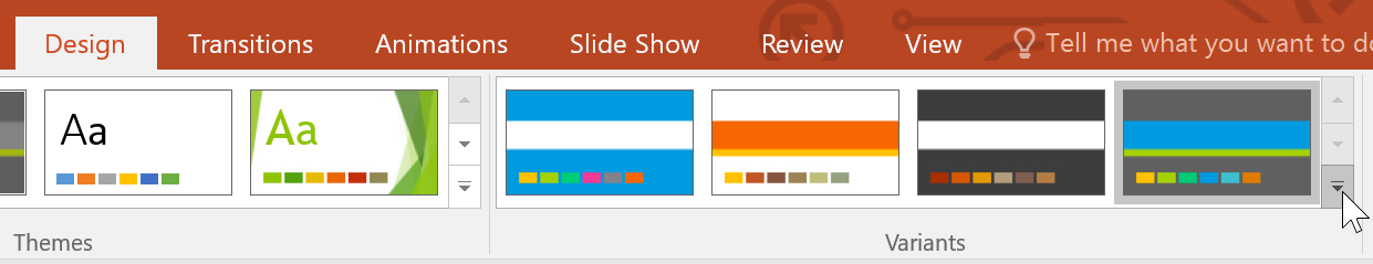 selecting colors from the Variants group