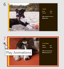 Clicking the Play Animations command in the Slide Navigation pane