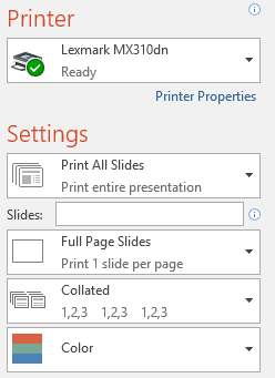 changing the print settings