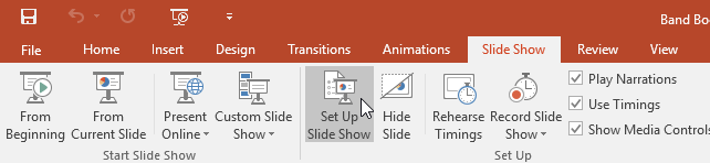 clicking Set Up Slide Show - www.office.com/setup