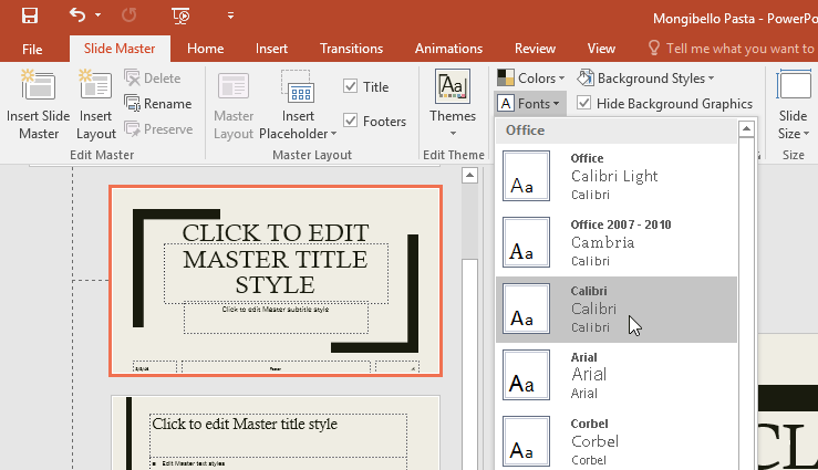 changing the theme fonts from the Slide Master tab