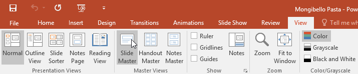 selecting the Slide Master command on the View tab
