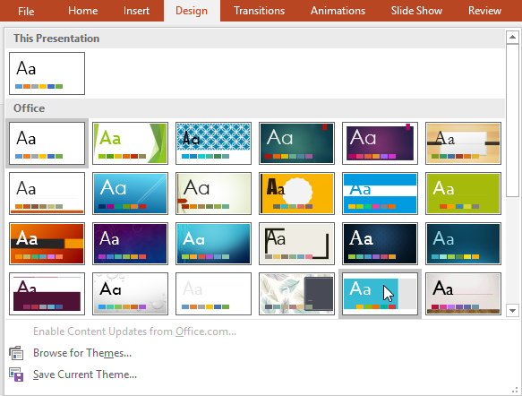 powerpoint 2016 applying themes