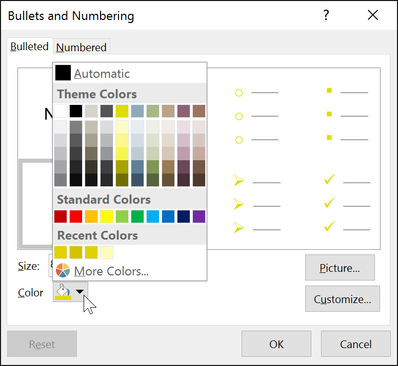 selecting a bullet color