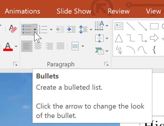 the Bullets drop-down arrow